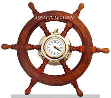 "20"" Brass/Wood Ship's Wheel Clock Nautical Ship's Wall Clock Decor Porthole"
