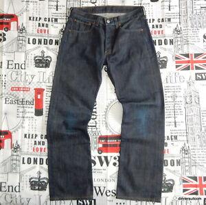mens W32 L30 Levi's 501 Jeans Red Tab Indigo Blue Denim Button Fly VGC