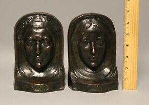 Antique c1913 Signed A J McHench Dante & Beatrice Bronze Sculptures Bookends NR