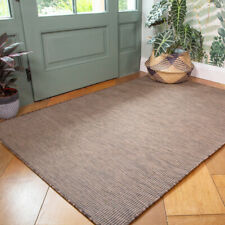 Modern Plain Brown Washable Rug Plastic Flatweave Indoor Outdoor Rug For Patio