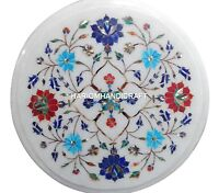 Marble Coffee Table Top Inlaid Multi Stone Marquetry Precious Floral Decor H2501