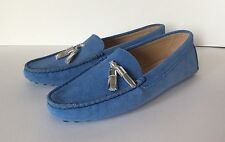 So Cute!!! BOBBIES Paris Blue Suede Silver Tassel Driving Moccasins Loafers 39,8