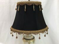 "Victorian Art Deco Boho Lamp Shade Black Fabric Brown Gold Bead Fringe 17""x12x10"