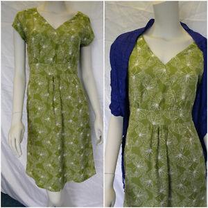 WHITE STUFF Geo Butterfly mock wrap tunic shift dress green RRP £49.95 UK 8-10