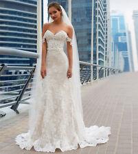 2018 Corset Mermaid Off Shoulder Appliques Lace Bridal Gown Wedding Dress 2 4 6+