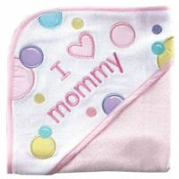 Luvable Friends Girl Hooded Towel, Pink-Mommy
