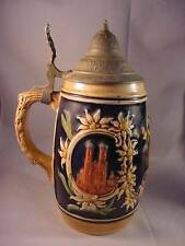 MUNCHEN GERMAN STEIN MUG with attached PEWTER LID FOREIGN NM