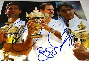Roger Federer Novak Djokovic Rafael Nadal signed 8 x 10 big 3 goat Autograph