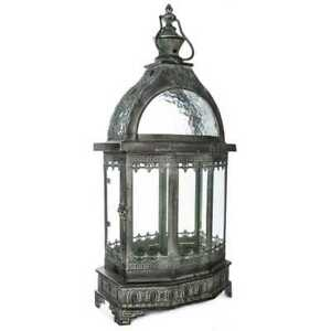 Lantern 23 in. H in Antique Green and Black Metal Finish with Glass Windows