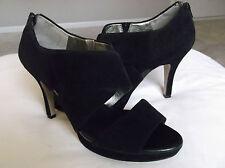 Banana Republic Women Shoes Black Suede Open Toe Heels Pumps Zipper 10