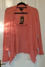 Ladies Pure Collection Cardigan twinset Pink size 16 100% Cashmere