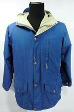 Vtg Class 5 Men's Hooded Parka Blue Full Zip Button Flap Rain XS Extra Small