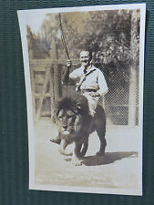 REAL PHOTO POSTCARD GAY MAN RIDING AFRICAN LIONESS IN EL MONTE CALIFORNIA