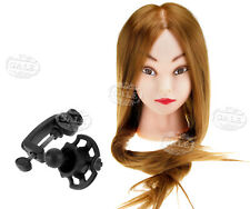 "24"" Real Human Hair Salon Hairdressing Training Head Mannequin Doll + Clamp"