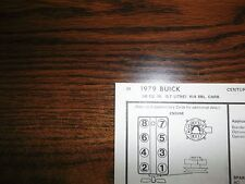1979 Buick EIGHT Series Models Code-L 5.7 Liter 350 CI V8 4BBL Tune Up Chart