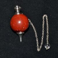 40-45 MM Long Natural Red Jasper Ball Pendulum Reiki Crystal Healing Vibes Aura