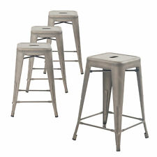 Set of Four Bronze 24 Inches Counter High Bar Stools, Indoor/Outdoor, Stackable