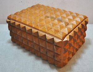 Original Old Vintage Fine Diamond Hand Carved Wooden Large Storage Box