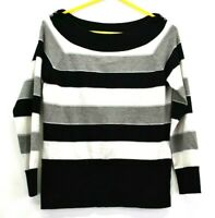 White House Black Market Women's Medium Long Sleeve Boat Neck Striped Sweater