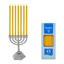 Small Silver Menorah + 45 Pure Beeswax Candles (100% Pure Beeswax)