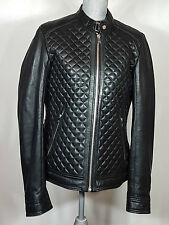 LAMARQUE Quilted Lambskin Leather Moto Jacket, Black, Men's Size Medium