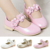 Toddler Children Kids Baby Girls Leather Flowers Single Princess Shoes Sandals A