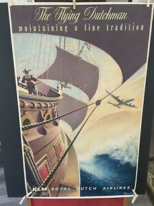 """VINTAGE RARE ORIGINAL FLYING DUTCHMAN DUTCH AIRLINES Travel Poster 25""""x40"""" WOW!"""