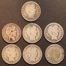 Circulated Barber Half Dollar Coin Lot (7) -  1899, 1902, 1906, 1907D, 1908O