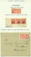 ICELAND DISTRICT CANCEL SAUDARKROKUR 2 EXHIBIT PGS W/STAMPS, LETTER CARD & COVER