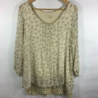 Prontomoda Giusy Made in Italy Flowy Blouse Top Lace Trim Size Medium Silk LS