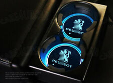 2PCS Fit For Peugeot LED Car Cup Holder Pad Mat Auto Atmosphere Lights Deco New