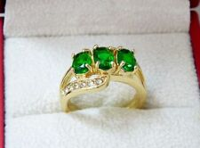 Unbranded Emerald Oval Yellow Gold Filled Costume Rings