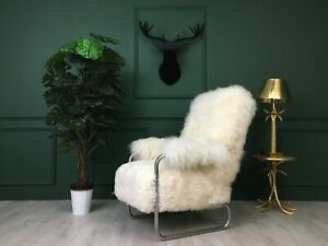 Vintage Design Mid Century White Sheepskin Metal Fluffy Fury Chair Armchair