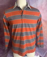 New listing COLUMBIA Orange/Gray Cotton RUGBY POLO Shirt Athletic Casual Gym Men's L