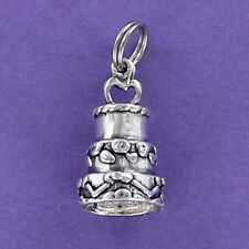 Wedding Cake Charm Sterling Silver 925 for Bracelet Three Tiers Frosting Layers