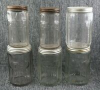 Hoosier Cabinet Paneled Glass TEA (4), GINGER and ALLSPICE Jars / Canisters
