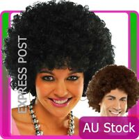 Adult Black Brown Funky Afro Wig Curly 1970s 70s Disco Party Costume 70's Wigs
