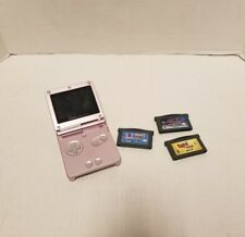 Nintendo Game Boy Advance SP System AGS 101 Untested w/ 3 Games LIGHT PINK