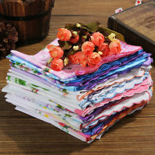 50x Flower Handkerchiefs Various Cotton Vintage Hankies Floral Lady Style Gift