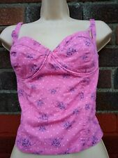 Size 14 Barbara  hulanicki Topshop pink Floral Bralet Crop retro strech quirky