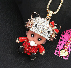 Betsey Johnson Cat Hat Baby Doll Pacifier 3D Gold Pendant Necklace Free Gift Bag
