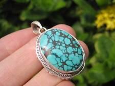 925 Silver Tibetan Turquoise stone crystal Pendant Necklace Nepal Jewelry Art C3