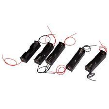 5Pcs 1 x 1.5V AA Dual Cable Battery Holder Plastic Box Black + Red A1B5
