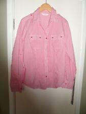 Donna Taglia 14 M&S Blusa Lunga, laccio sul retro maniche rosse e bianche
