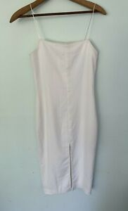 MAURIE & EVE white fitted spaghetti strap size 8 front split formal dress