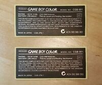 "2 PACK *GENERIC* Nintendo Game Boy Color ""MADE IN JAPAN"" Console Sticker Labels"