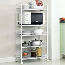 5 Tier Kitchen Trolley Storage Shelf Rack Organizer Pantry Bathroom Wheels Cart