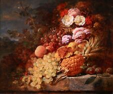 GEORGE LANCE R.A (1802-1864) SIGNED 1856 ENGLISH STILL LIFE OIL ON CANVAS FRUIT