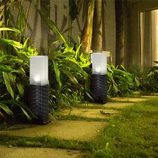 Solar Power Plastic Rattan Effect Post Light Path Walkway Outdoor Lamp LED Light