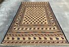 Authentic Hand Knotted Afghan Balouch Animal Pictorial Wool Area Rug 7 x 4 Ft